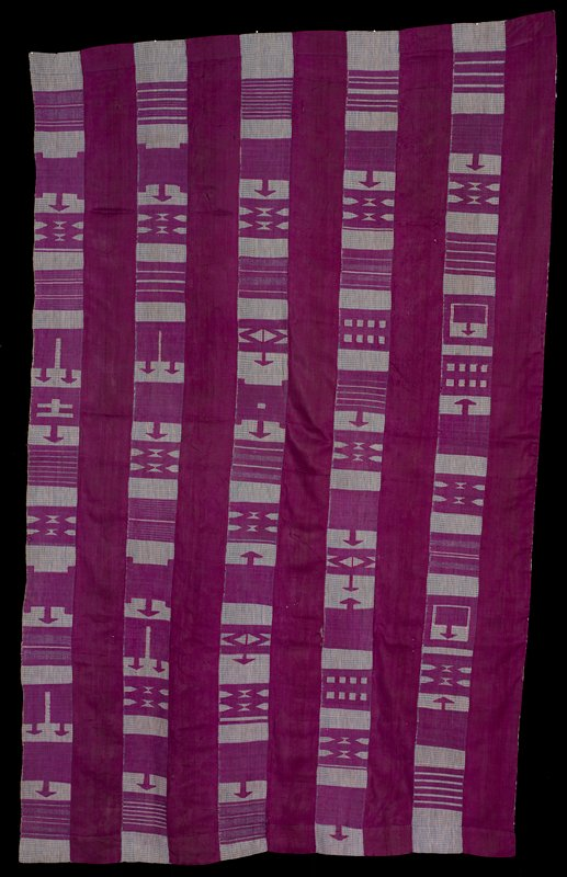 ten strips sewn together; alternating strips of solid purple and blue and white gingham woven with purple geometric designs including bars, squares, diamonds and arrows; backed with white netting