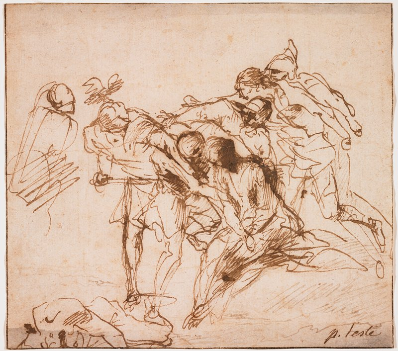 sketchy image of cluster of fighting figures; figure at left center holds a dagger; fallen figure in LLC