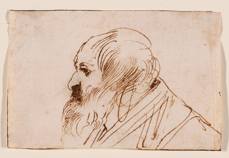 old man in profile, with long beard and hair brushed forward