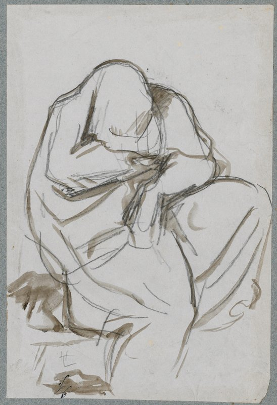 seated figure completely enveloped in drapery, with head bent down and PL knee raised