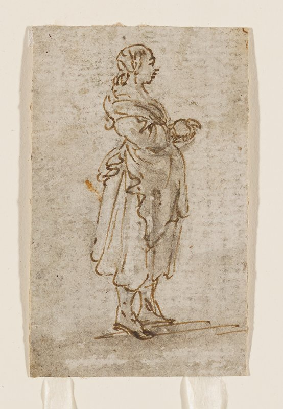 standing woman in profile from PR, wearing calf-length skirt and apron