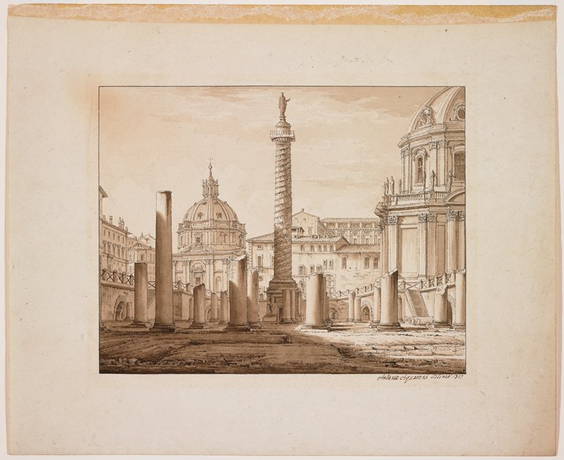 view from inside ruins of forum, with broken-off columns; tall column with sculpture of standing figure at center; Classical buildings in middle ground beyond ruins