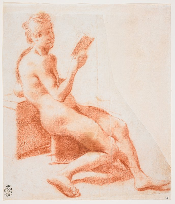 seated nude (seated on a leaning against blocky structures) seen from PR side, holding a book in his PR hand; PR leg bent with foot to side; figure leans on PL elbow; slightly cartoonish face, looking out of picture plane