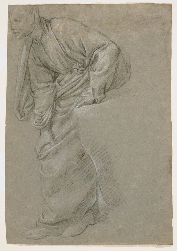 seated man seen from PL, with his upper body twisted or PL, PR hand on PL knee and feet crossed; man wears draping long garment; man has sketchy, large ears