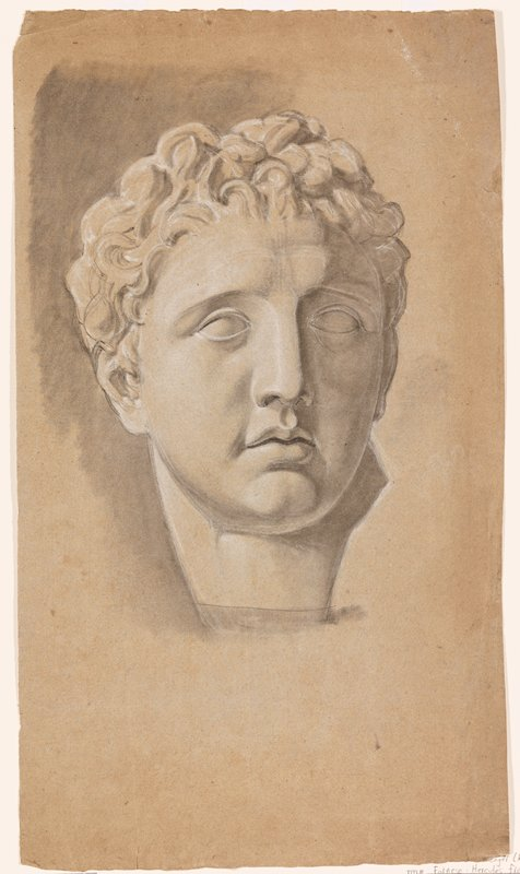 recto: sculpted male head with wavy hair in chunky pieces; wide bridge of nose; head turned slightly to PL; verso: standing nude male figure seen from back, with head bent down; heels together, with PR foot slightly in front, toes apart; PR hand on back of hip bone; some geometric perspective sketches, LRC