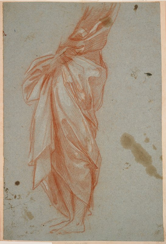 study of drapery on a standing figure viewed from PL; torso and legs, with feet and lower legs differentiated; arms not differentiated