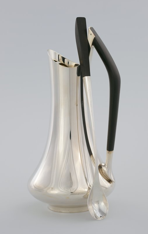 long-handled spoon with deep, roughly teaspoon-sized bowl; ebony handle end