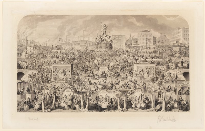 """large composite image with many small vignettes of figures young and old drinking liquor; Bacchus at top center on a pedestal accompanied by male and female figures, a dog and a goat--all three figures raise goblets; ships and houses on fire, ULC; breweries, bars, hospital, jail, an asylum and a workhouse at top center and right; scattered text, including, at center: """"SACRIFICED / AT THE SHRINE OF BACCHUS / FATHER, MOTHER, SISTERS, / BROTHERS, WIFE, CHILDREN / PROPERTY, FRIENDS, / BODY AND MIND."""""""