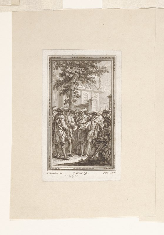 group of men standing; seated man at right; tree left with wall behind; church behind wall