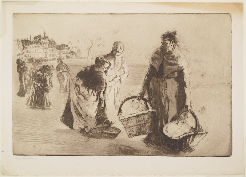 middle-aged woman with dark hair in a bun, wearing a shawl, carrying two large baskets; young woman with light hair in a bun, also wearing a shawl, placing flowers in a basket on the ground, accompanied by a man to her left at center; group of women in middle ground at left; buildings in ULC