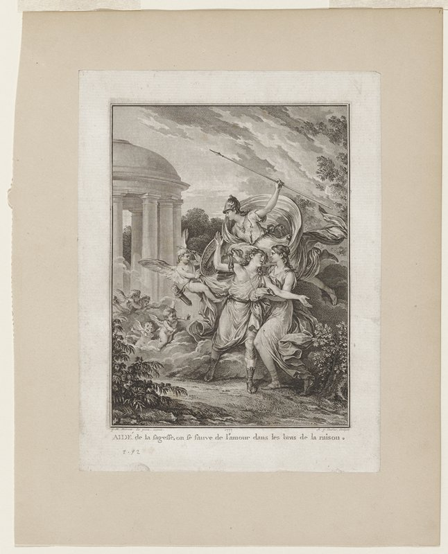 male and a female figure embracing right foreground; second female figure with spear and sheild flying above; numerous putti at left, one with arrows; round open sided building at far left