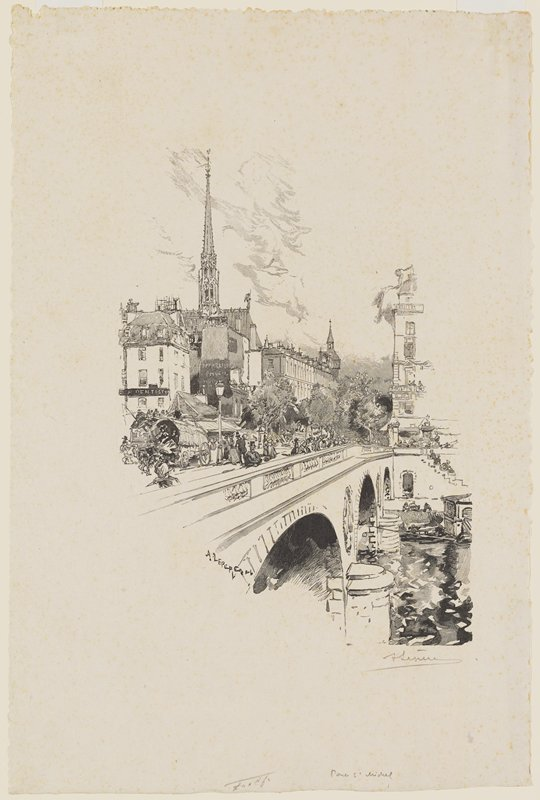bridge with large arches at bottom; carriage, carts and pedestrians on bridge; buildings at left, with church spire in ULQ
