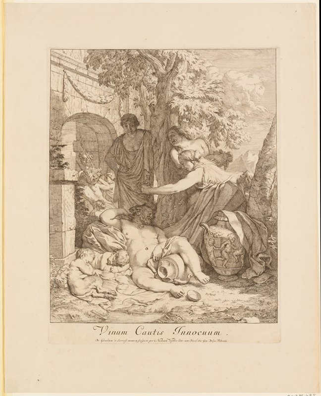 Silenus sleeping at center, with his PL leg over a jug; two small satyrs asleep to Silenus' right; three women laughing at Silenus--one at right squeezing bunch of grapes over his head; archway with figures carrying basket of grapes at left; tree at center