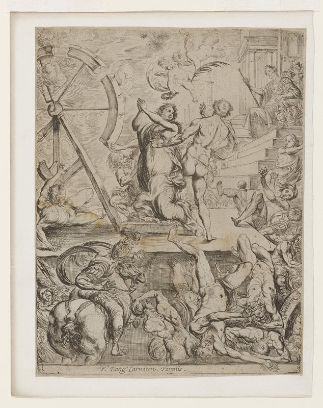 St. Catherine kneeling on platform; arms raised, hands folded in prayer; angel with crown above; broken wheel at left; seated ruler above right; fallen men below and beside platform; man with rope behind Catherine on platform