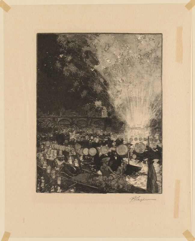 large firework explosion in LRQ at right edge on water's edge; bridge with arches at left center; people on boats with strings of lanterns on water; two ladies in foreground at bottom center in boat