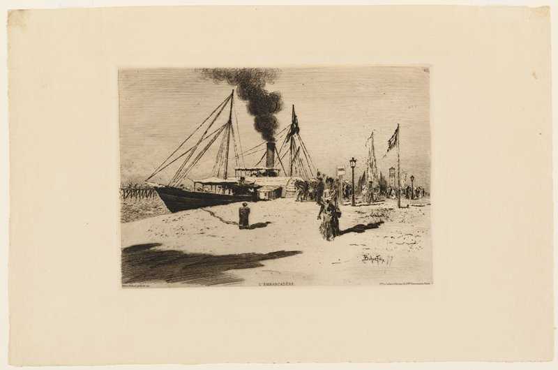 people on shore; large boat with dark smoke coming from smokestack at center; flags on flagpoles at right; water at left