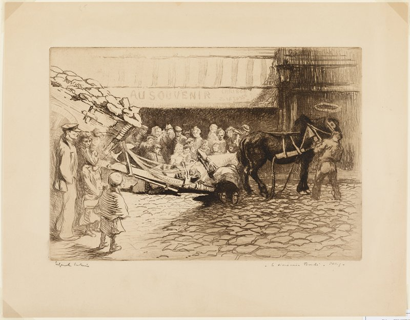 fallen white horse harnessed to a wagon being assisted by a kneeling man seen from back at center; black horse unharnessed from same wagon, led by standing man at right; full wagon at left; men, women and children watching, at left and on sidewalk in middle ground center; cobblestone street