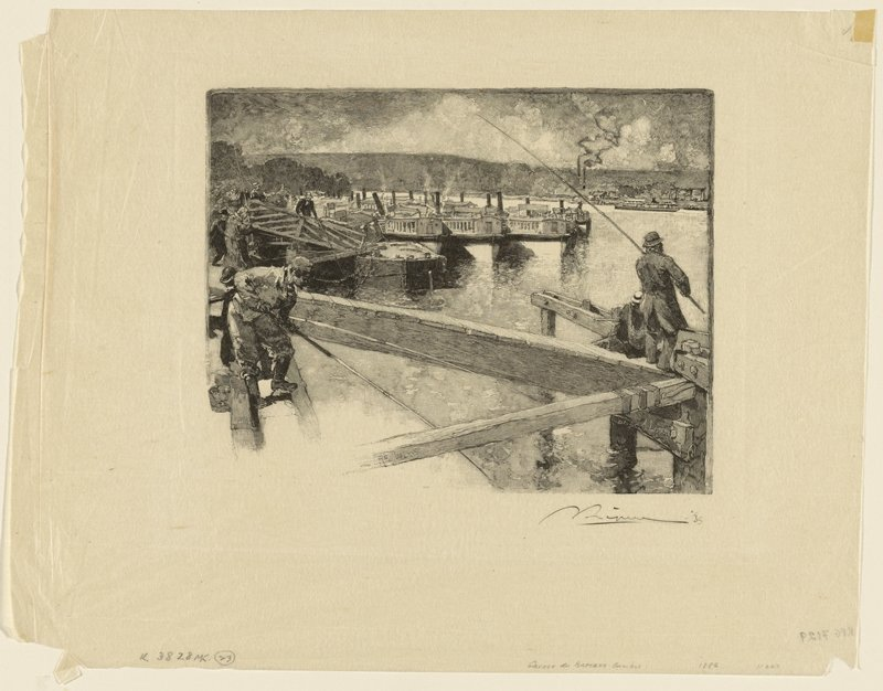 three men with long poles and other figures on a dock with a ramp; ferry boats in middle ground; low mountains in background