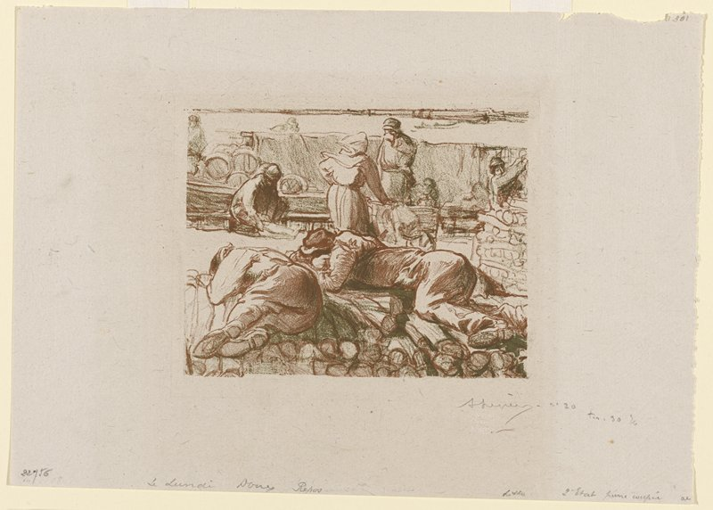 two people sleeping on a pile of logs in foreground; four other figures in background; printed in brown and green