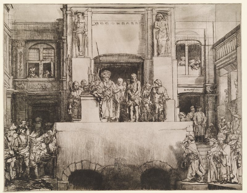 bound standing Christ at center standing on raised platform with two dark arches below; Christ is accompanied by sanding soldiers and other figures; onlookers at left and right below platform; figures in windows in upper quadrants
