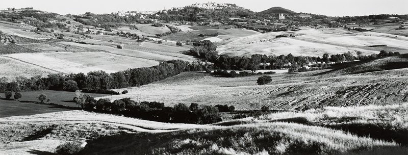 rolling farmland with fields and trees; village at top of hill at center; high horizon line