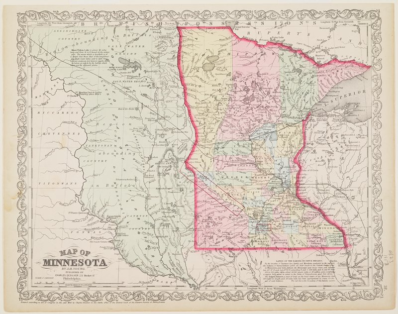 """map of Minnesota with surrounding areas to west and east; counties hand-colored in light red, yellow, green and blue; """"Proposed Dakota Territory"""" colored in green; red border around Minnesota"""