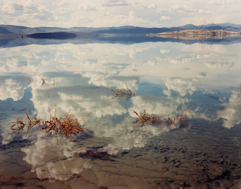 reflections of clouds and sky in water--shallow in foreground, with sandy lake bottom visible; thorny dried foliage sticking out of water in several areas; mountains in background at high horizon line; many clouds in sky