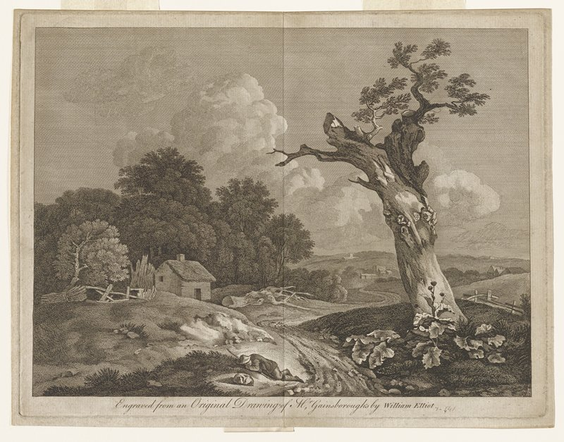 man in rustic dress lying asleep by a path; dog asleep beside him; large tree, partially dead right foreground; thatched building left of path; scattered buildings distance