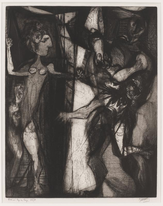 black and white; two figures with animated gestures; abstract setting; wood frame