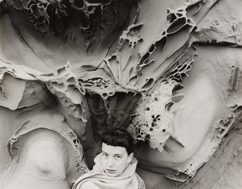 head and shoulders of a woman wearing a scarf around her neck at bottom center of image; organic forms behind woman (rocks?)