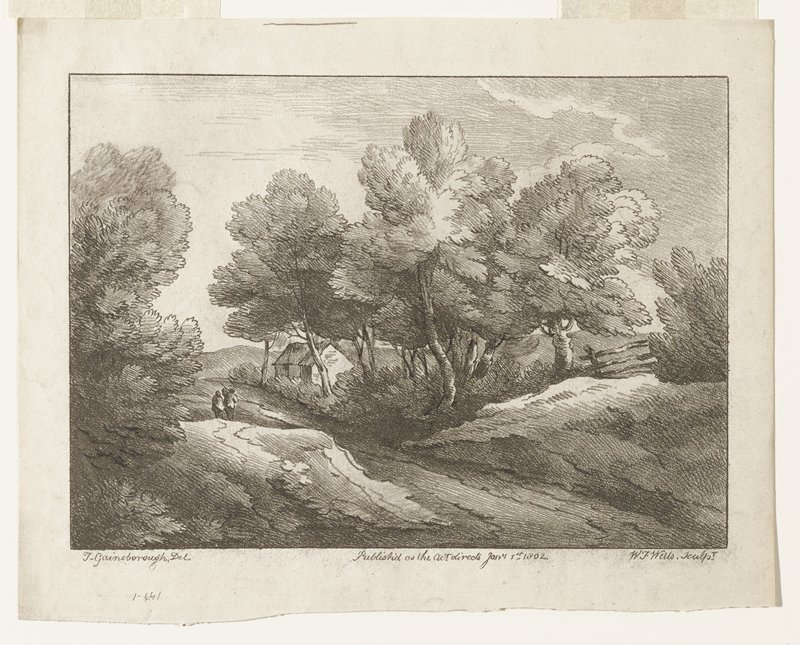 landscape; two figures left center, one carrying bundle on a stick; house at right middle ground; trees on both sides of stream or path; fence at right