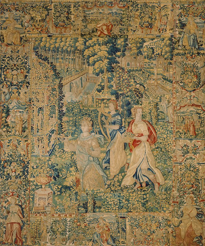 from the series 'The Garden of Pomona'; central design shows allegorical figure of a woman playing a harp, attended by two female figures; border of small figures alternating with floral design