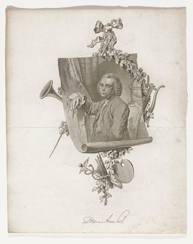 waist up portrait of man on scroll looking right; behind scroll foliate garland with horn, lyre, artist's palate and brushes; small staff with wings above 2 snakes; long pointed rod with round head; man seated holding pen in PR hand