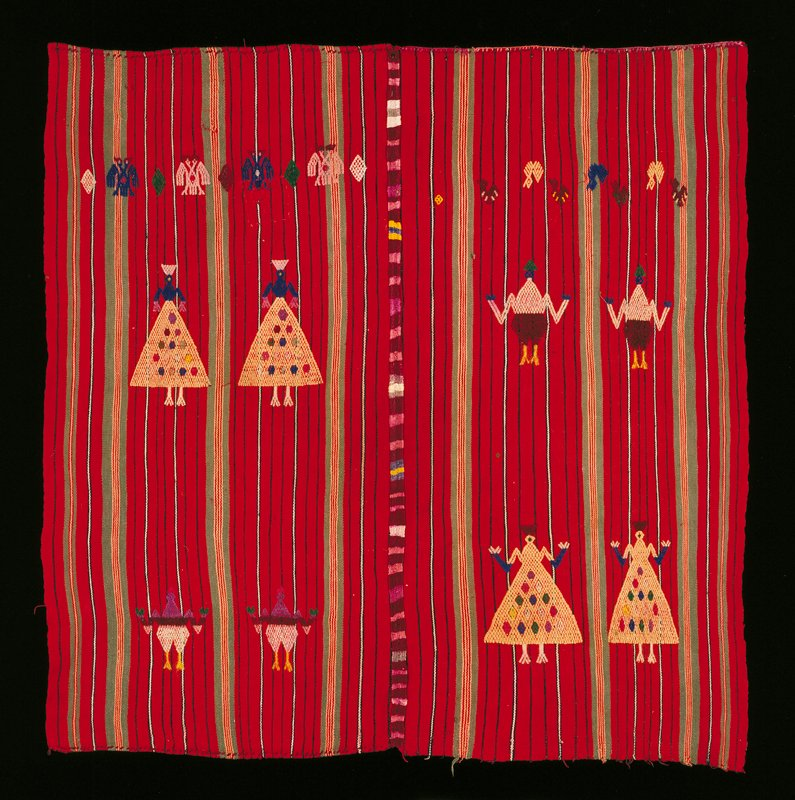 Tzute (head covering), from Chichicastenango. Cotton, silk, wool.