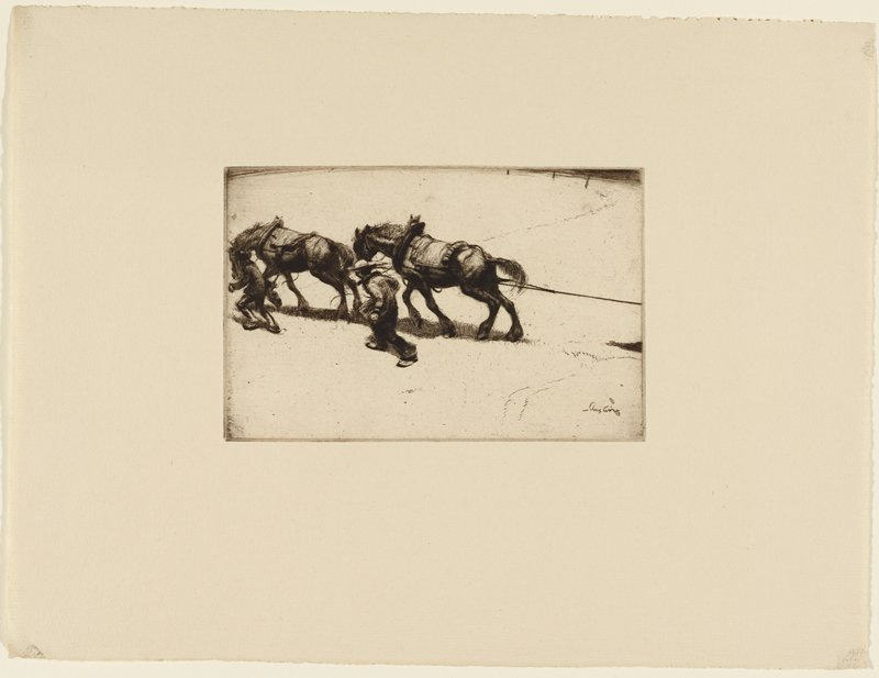 two horses pulling an unpictured object with rope; a man on each side of the horses; both horses and men are struggling