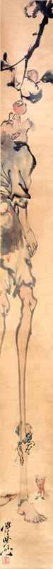 left scroll: man with very long legs stands with mouth wide open under a persimmon tree about to eat a fruit; below, a small man attempts to climb tall figure's PL leg while a third man stands near the tall figure's foot with arms raised
