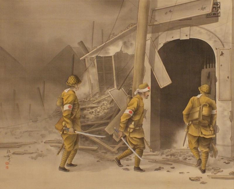 three solders in ocher colored uniforms with arm bands featuring Japanese flag design walking towards entrance of burned-out building; two of the soldiers carry a sword in PR hand; center soldier has fierce look on face; background rubble painted in gray