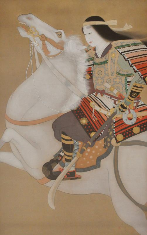 female warior riding on white horse; front 3/4 of horse visible
