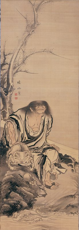 shaggy man in white robe seated on river bank; long, scruffy hair, flat head, large, grimacing face, pointed, claw-like nails; man resting PR hand on large frog; waves from river at lower edge; tree with blossoms at L
