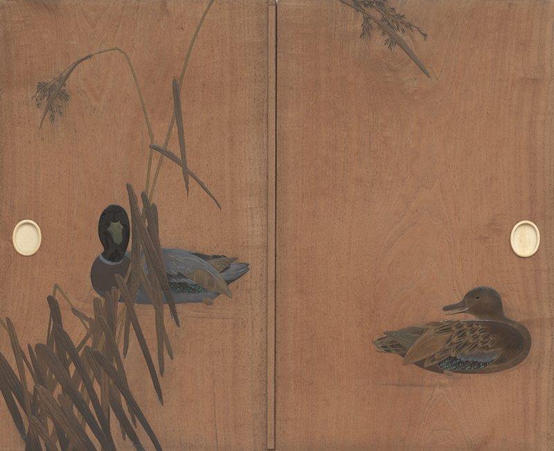 L door: mallard at center behind reeds