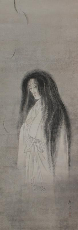 ghostly standing woman with long, slightly unkempt hair; turned 3/4 toward PR; woman wear white robe with bow at waist and has her PR hand on her chest; woman has deeply furrowed brow; grey ground; green and rose colored mount