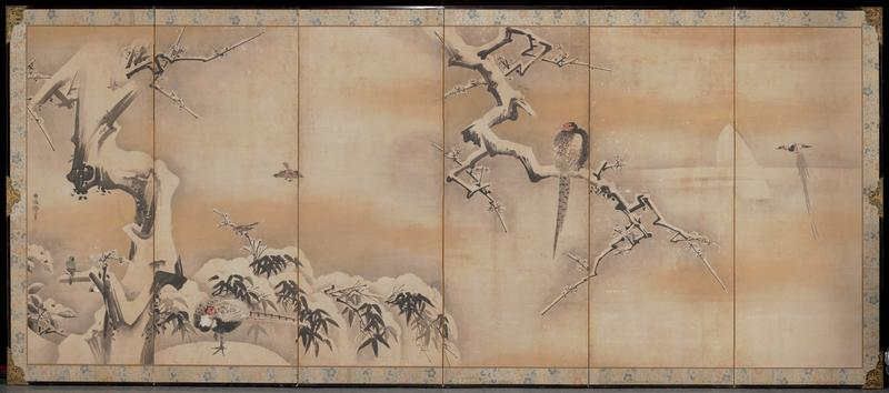 snow covered bare tree and plants on L with five birds; snow covered branch coming down from top in panel 3 with large bird seated on branch; small flying bird in panel 6