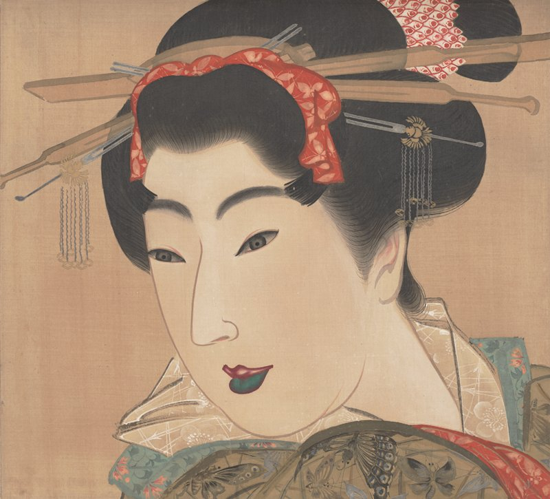 unsigned; 3/4 portrait of woman facing PL; coyly cradling partially folded white fan under chin; bright red detailing in kimono collar; large headdress; blue and white hair ornament at back; two hair sticks at front with red beads; pink upper lip, green lower lip