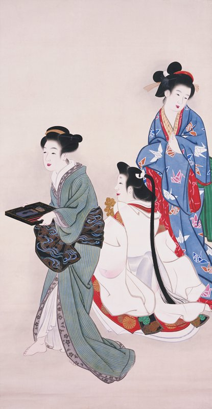 three elegantly dressed women; standing woman on R wearing blue kimono with paper cranes; center woman is seated and wearing white; woman onL is standing and facing L and holding tray
