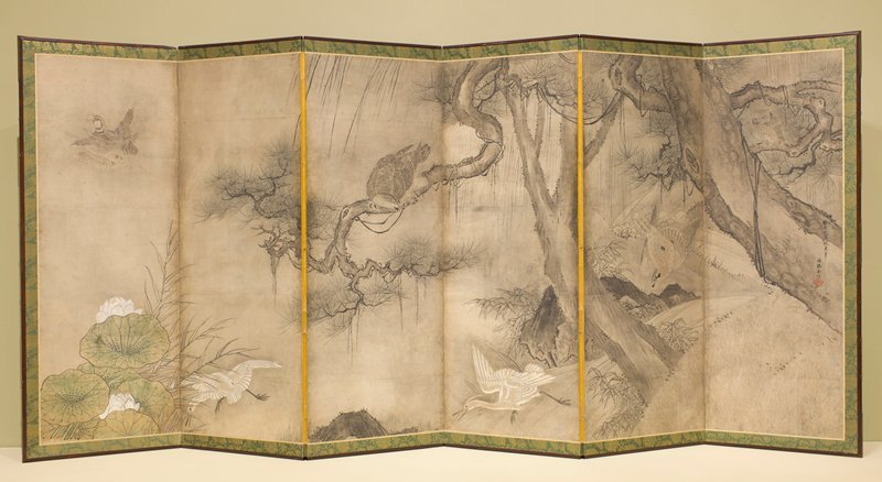 pallette is predominanty beige, grey, white and green; two white birds at bottom of panels 2 and 4; grey bird in tree in panel 3; owl in tree in panel 6 and a few other birds; painting on back of screen also