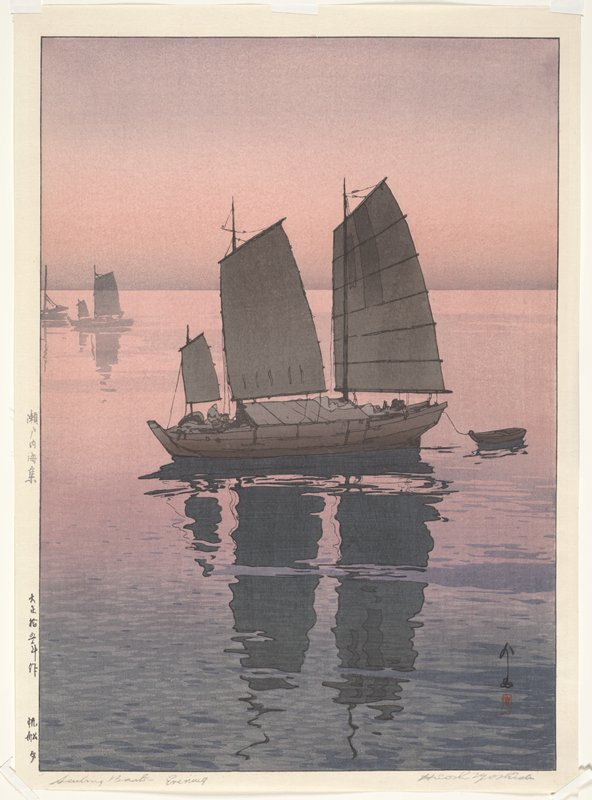 boat with three sails and small dinghy at center, reflecting on water; silhouettes of smaller boats at UL; pink and purple are dominant colors