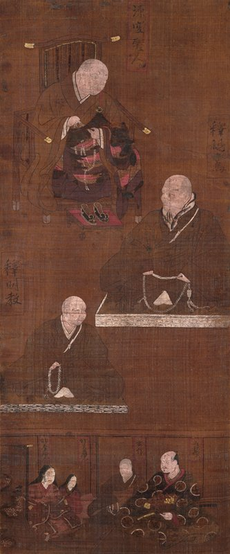 man seated in chair at top; man seated on platform on R; another man seated on platform below on L; four seated figures at bottom; dark brown overall