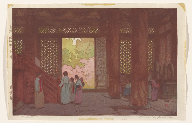darkened interior of a palace, looking out; a group of women stand near a staircase at L; large columns support the interior; a group of women at R, behind columns, near stone monument; view looks out onto lattice-wall and out into a lush pink and green garden