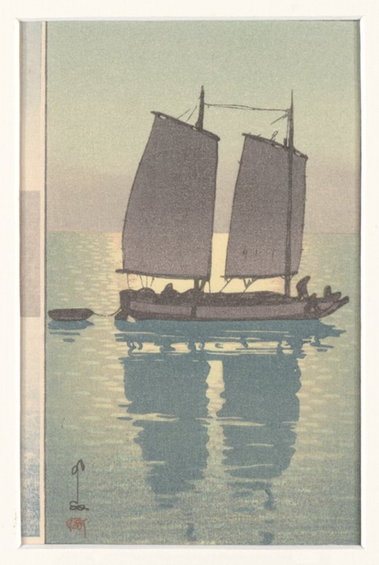unsigned; junk with two sails towing a dinghy; grey-brown color
