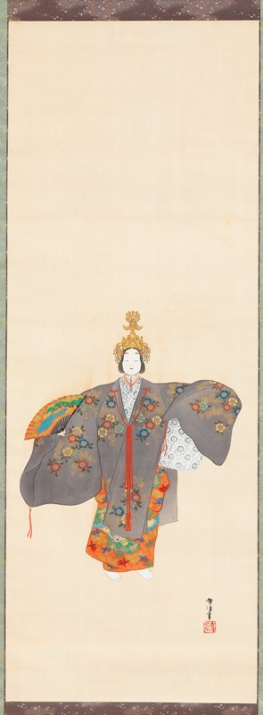 figure with white face and outstretched arms at center holding decorated fan in PR hand; figure wears purple robe decorated with blue, yellow, gold, green, and red flowers; highly detailed orange skirt underneath; detailed white garment under top of robe, ornate golden headdress